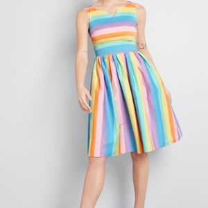 Modcloth Perfected by Pockets Striped A-Line Dress